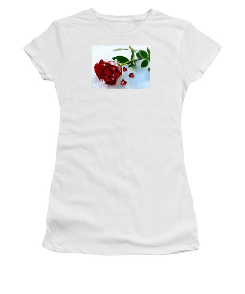 Women's T-Shirt (Junior Cut) featuring the mixed media To Make You Feel My Love by Morag Bates