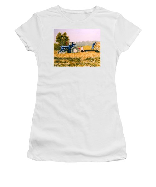Women's T-Shirt (Junior Cut) featuring the painting Tobacco Farmers by Stacy C Bottoms