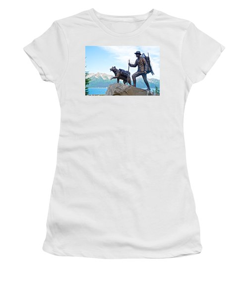 Trail Blazers Sculpture For 2012 Iditarod Beginning At Mile 0 In Seward-ak Women's T-Shirt (Athletic Fit)
