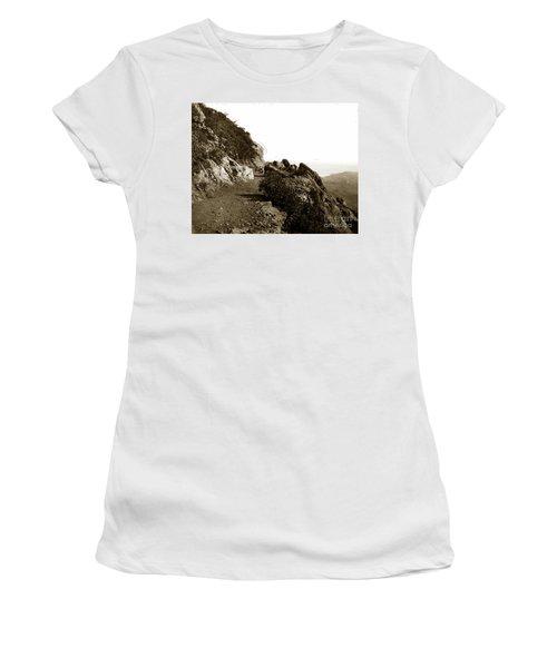 Women's T-Shirt (Junior Cut) featuring the photograph Trail On Mt. Tamalpais Marin Co California Circa 1902  by California Views Mr Pat Hathaway Archives