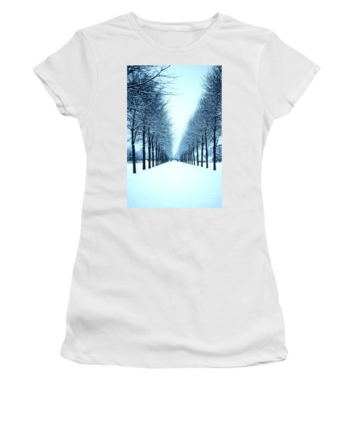 Tree Avenue In Snow Women's T-Shirt (Athletic Fit)