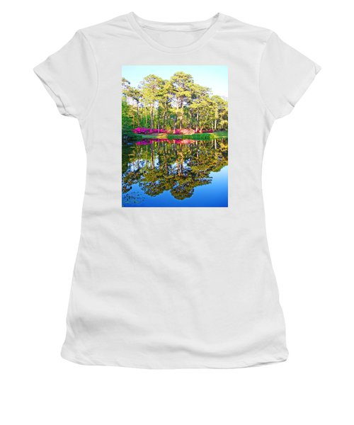 Tree Reflections And Pink Flowers By The Blue Water By Jan Marvin Studios Women's T-Shirt (Athletic Fit)