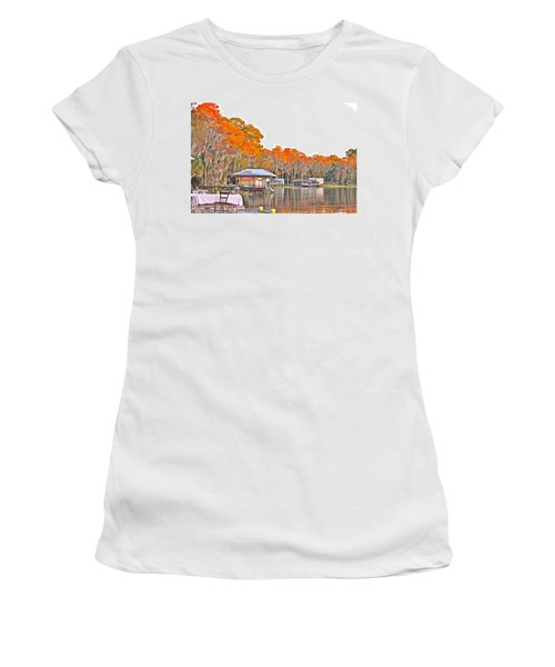 Trees By The Lake Women's T-Shirt (Junior Cut) by Lorna Maza
