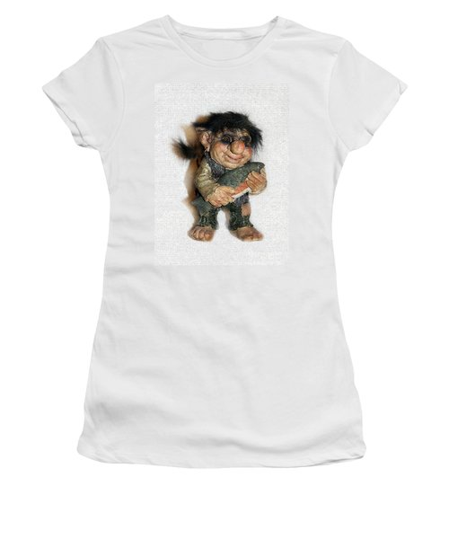 Women's T-Shirt (Junior Cut) featuring the sculpture Troll Fisherman by Sergey Lukashin