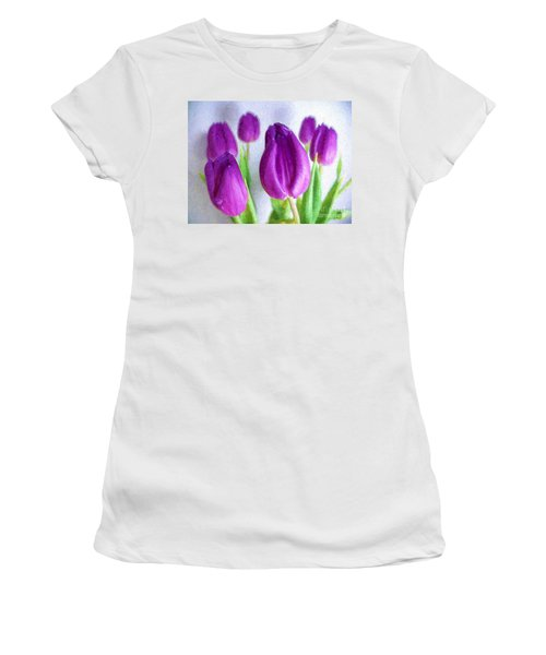 Tulips In Digital Oil Impasto Women's T-Shirt (Athletic Fit)