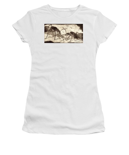 Two Ants In Communication - Etching Women's T-Shirt