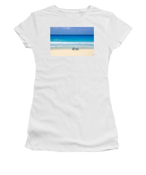 Two Chairs On Cancun Beach Women's T-Shirt