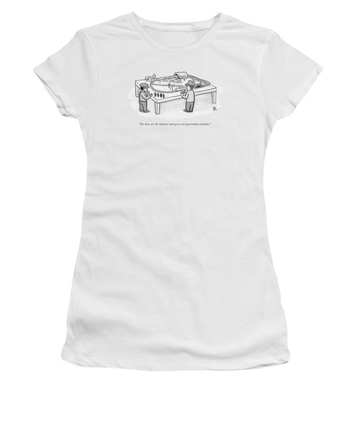 Two Children Play With A Toy Train Set Women's T-Shirt