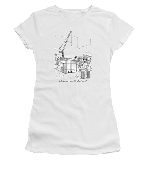 Two Construction Workers Look Out Over A Massive Women's T-Shirt