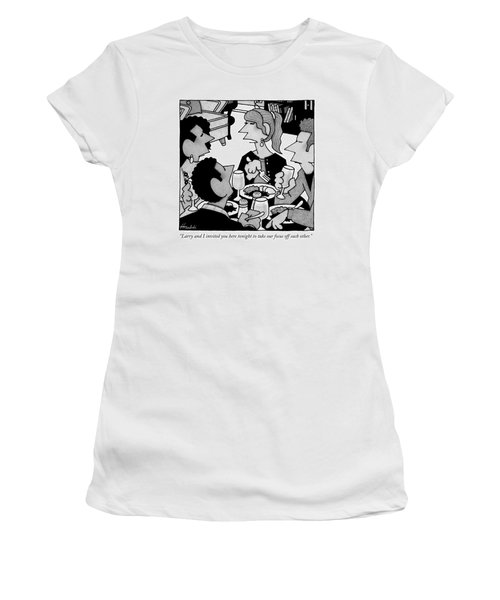 Two Couples Eat Dinner Together Women's T-Shirt