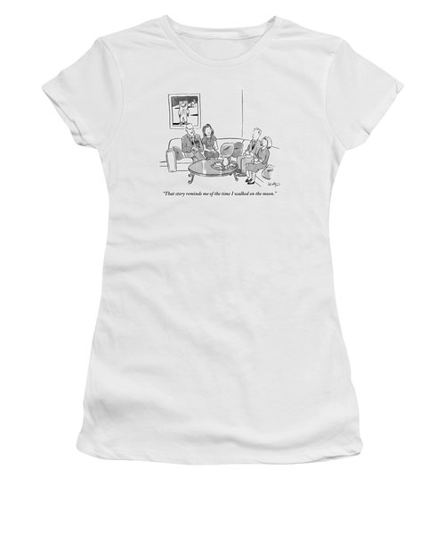 Two Couples Sit Drinking Tea In A Living Room Women's T-Shirt