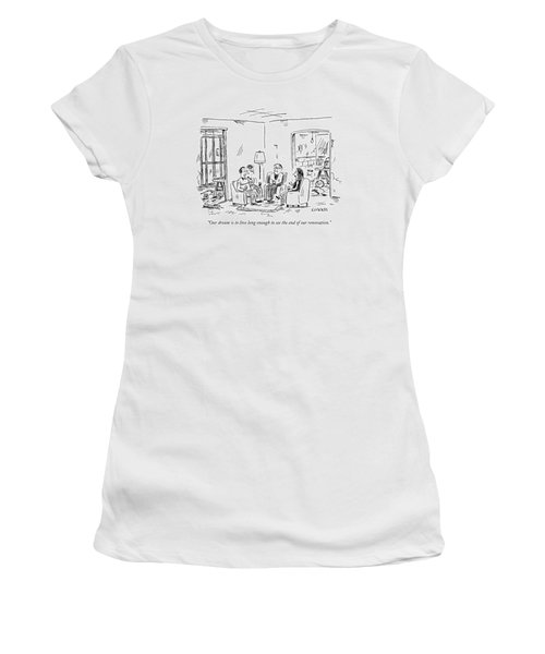 Two Couples Sitting In The Middle Of A House Women's T-Shirt