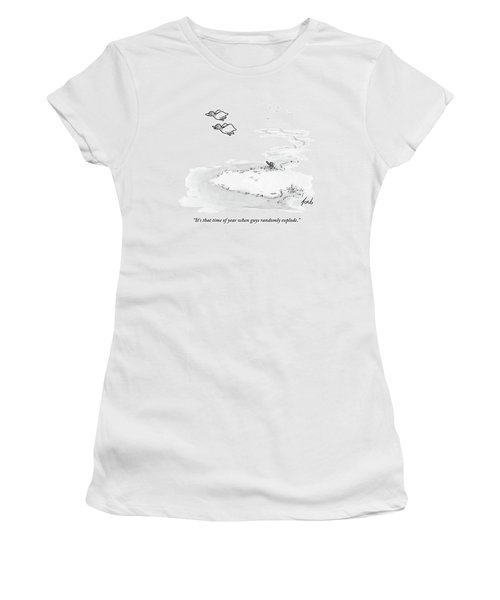 Two Ducks Fly Over A Pond. A Hunter Hides Women's T-Shirt
