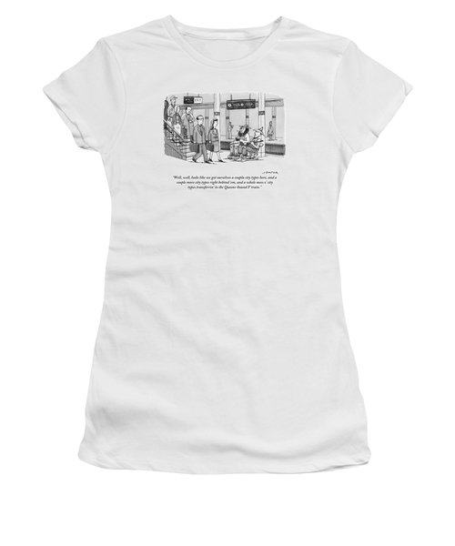 Two Farmers Sit In Rocking Chairs At The 42nd Women's T-Shirt