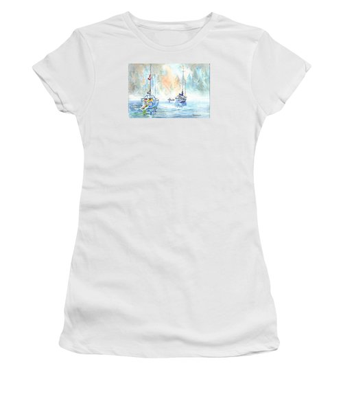 Two In The Early Morning Mist Women's T-Shirt (Junior Cut) by Carol Wisniewski