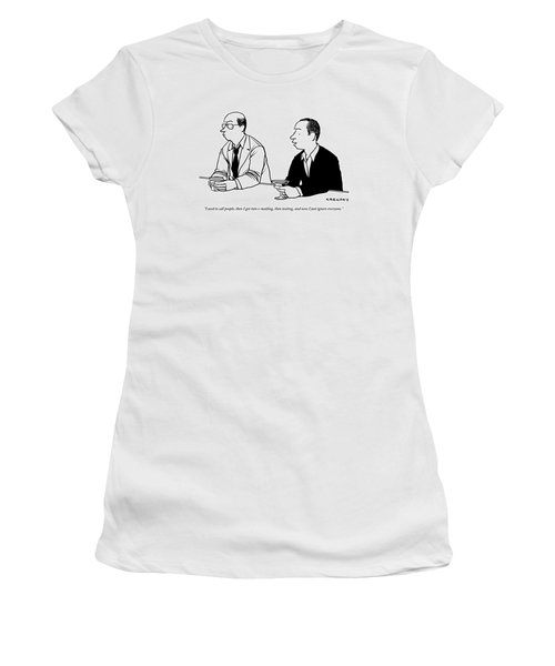 Two Men Are Seen Speaking With Each Other Women's T-Shirt