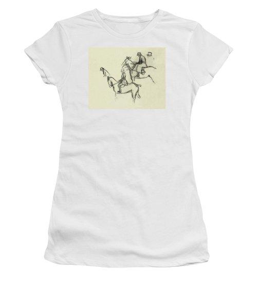 Two Men Horse Riding Women's T-Shirt