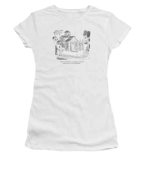 Two Men Look At A House That Is Built Women's T-Shirt