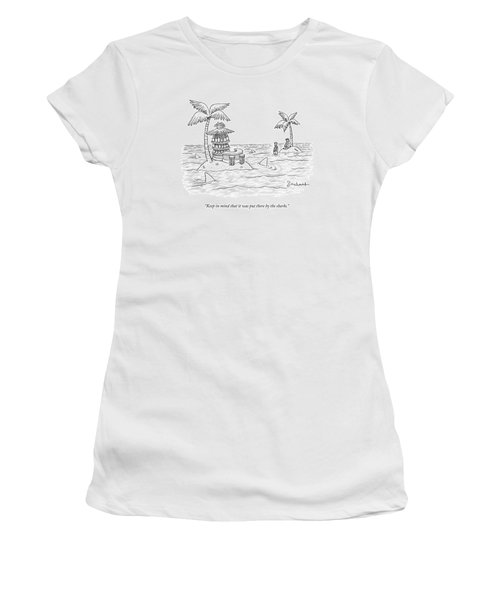 Two Men Stand On A Desert Island Women's T-Shirt