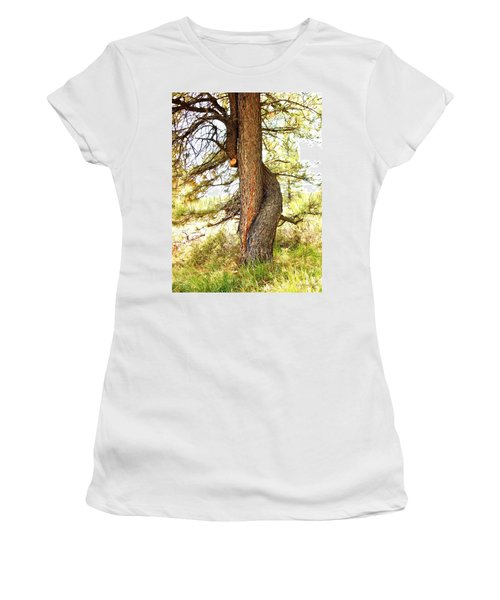 Two Pines Intertwined  Women's T-Shirt (Junior Cut) by Deborah Moen