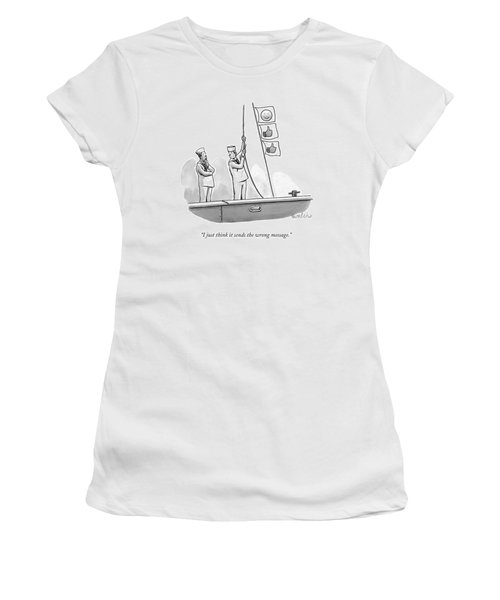 Two Sailors Hoist Flags Of Smiley Face And Thumbs Women's T-Shirt