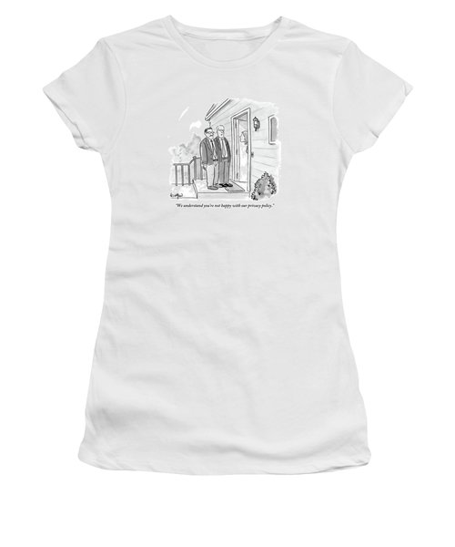 Two Suited Men Stand On The Doorstep Of A House Women's T-Shirt