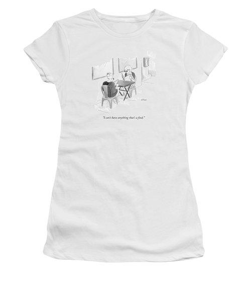 Two Women Speak In A Restaurant Women's T-Shirt