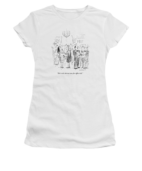 Two Women Talk About A Nearby Man At A Cocktail Women's T-Shirt
