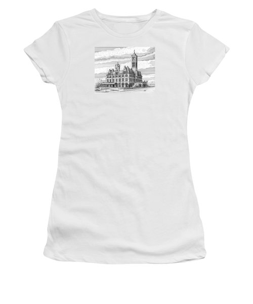 Women's T-Shirt (Junior Cut) featuring the drawing Union Station In Nashville Tn by Janet King