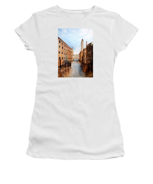 Women's T-Shirt (Junior Cut) featuring the painting Venice Italy by Jean Walker