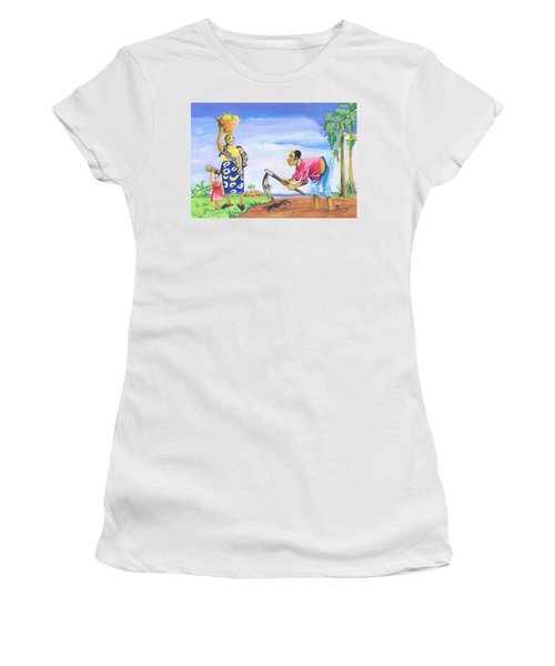 Women's T-Shirt (Junior Cut) featuring the painting Village Life In Cameroon 01 by Emmanuel Baliyanga