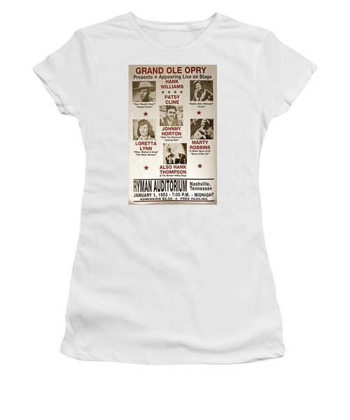 Vintage 1953 Grand Ole Opry Poster Women's T-Shirt (Junior Cut) by John Stephens