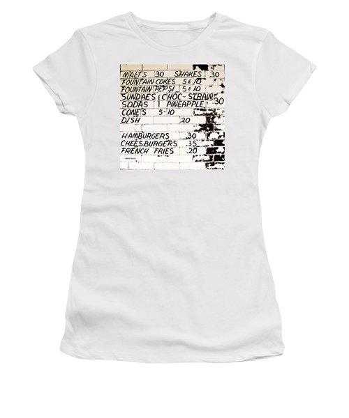 Vintage Menu On Brick Women's T-Shirt