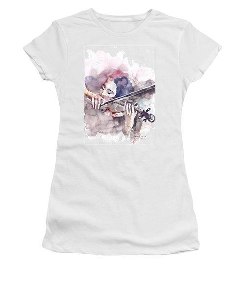 Violin Prelude Women's T-Shirt (Junior Cut) by Faruk Koksal