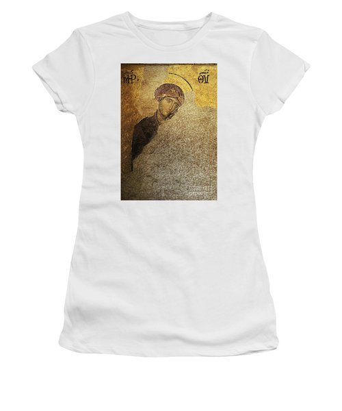 Virgin Mary-detail Of Deesis Mosaic  Hagia Sophia-day Of Judgement Women's T-Shirt