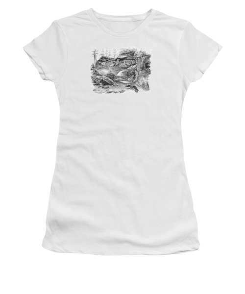 Women's T-Shirt (Junior Cut) featuring the drawing Virginia Kendall Ledges - Cuyahoga Valley National Park by Kelli Swan