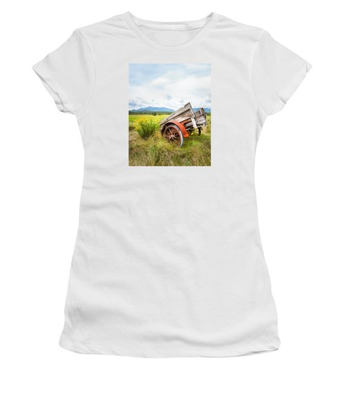 Women's T-Shirt (Junior Cut) featuring the photograph Wagon And Wildflowers - Vertical Composition by Gary Heller