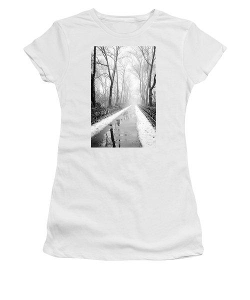 Walkway Snow And Fog Nyc Women's T-Shirt