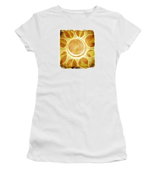 Women's T-Shirt (Junior Cut) featuring the drawing Warm Sunny Flower by Lenny Carter