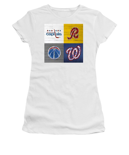 Washington Dc Sports Fan Recycled Vintage License Plate Art Capitals Redskins Wizards Nationals Women's T-Shirt (Athletic Fit)