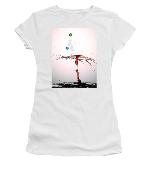 Water Droplets Collision Liquid Art 11 Women's T-Shirt (Junior Cut) by Paul Ge