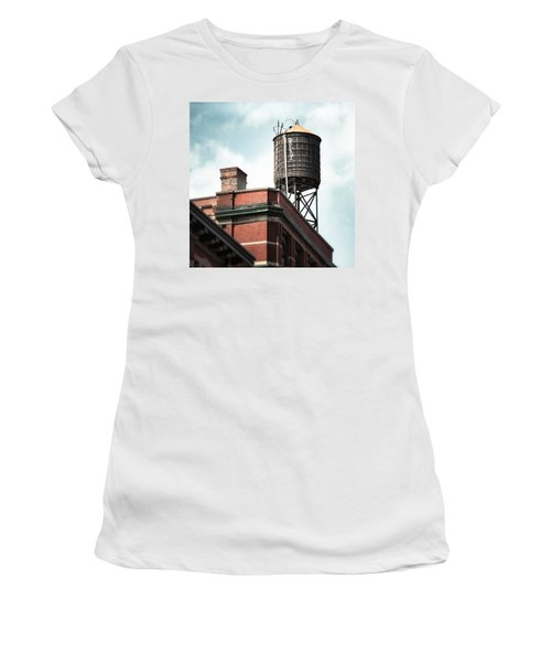Water Tower In New York City - New York Water Tower 13 Women's T-Shirt (Athletic Fit)