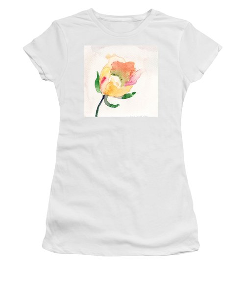 Watercolor Illustration With Beautiful Flower  Women's T-Shirt (Athletic Fit)