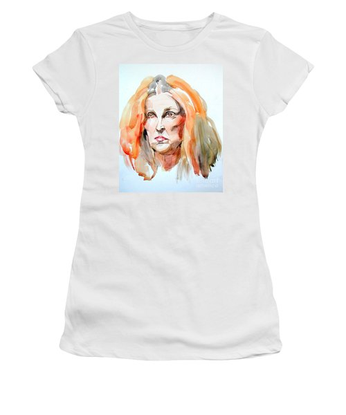 Women's T-Shirt (Junior Cut) featuring the painting Watercolor Portrait Of A Mad Redhead by Greta Corens