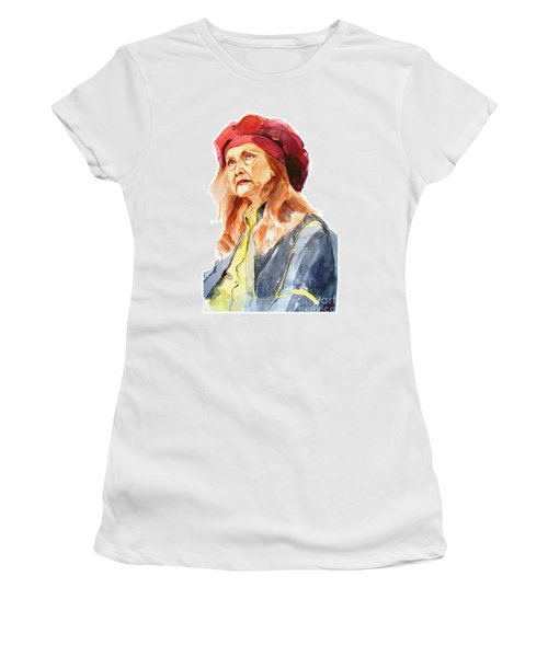 Women's T-Shirt (Junior Cut) featuring the painting Watercolor Portrait Of An Old Lady by Greta Corens