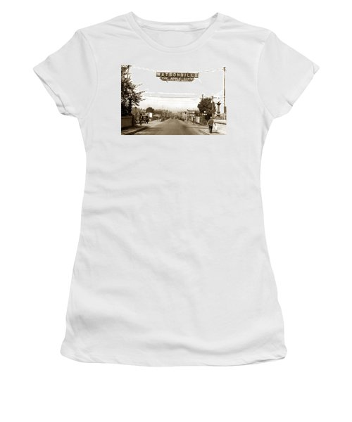 Watsonville California  The Apple City Circa 1926 Women's T-Shirt (Junior Cut) by California Views Mr Pat Hathaway Archives