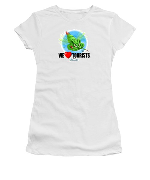 We Love Tourists Mosquito Women's T-Shirt (Junior Cut) by Scott Ross