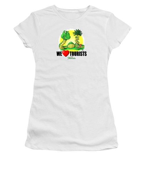 We Love Tourists Snake Women's T-Shirt (Junior Cut) by Scott Ross