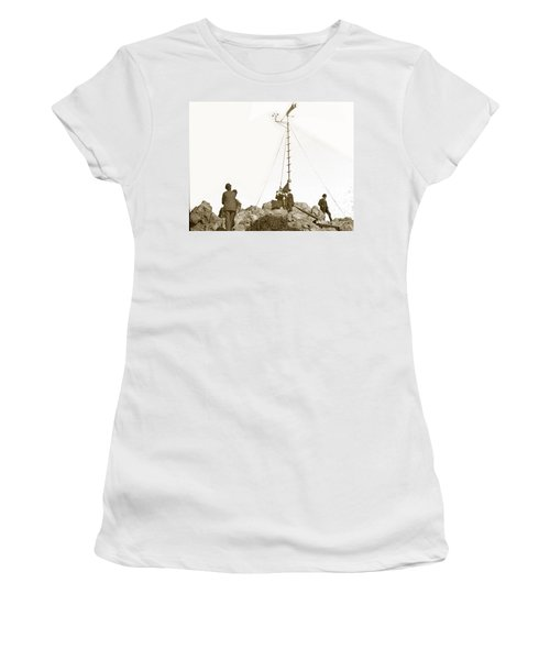 Women's T-Shirt (Junior Cut) featuring the photograph Weather Station Mount Tamalpais Marin County California Circa 1902 by California Views Mr Pat Hathaway Archives