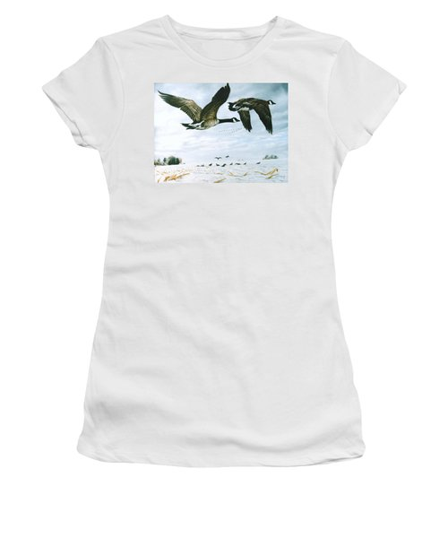 Women's T-Shirt (Junior Cut) featuring the painting Welcome Home by Craig T Burgwardt